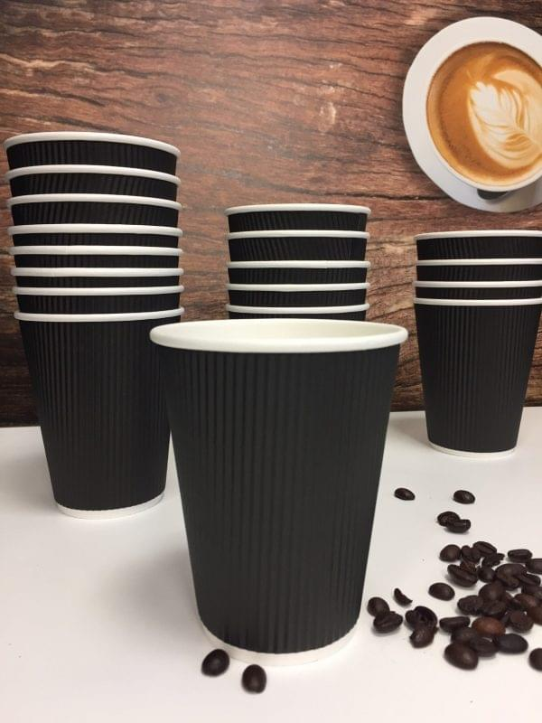 12oz Black Ripple Wall Paper Cups  x 500 2