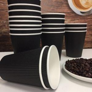 12oz Black Ripple Wall Paper Cups  x 500 1