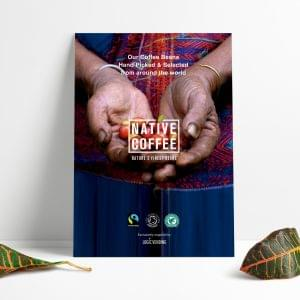 Native Coffee Beans Origen Sign A3
