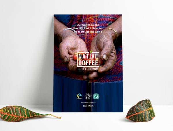 Native Coffee Beans Origen Sign A3