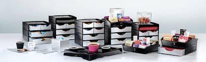 Desktop Storage Station for Coffee & Tea 2 + 2 Drawers