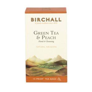 Birchall Green Tea & Peach - 15 x Prism Tea Bags
