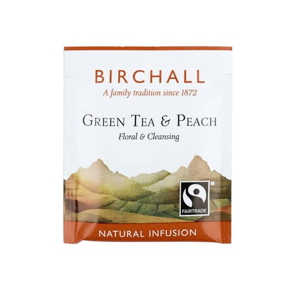 Birchall Green Tea & Peach- 25 x Enveloped Tea Bags 1