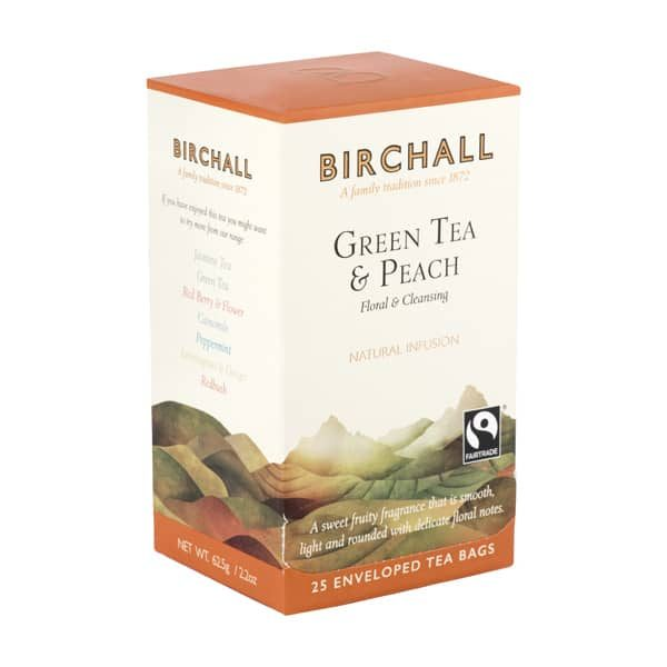 Birchall Green Tea & Peach- 25 x Enveloped Tea Bags