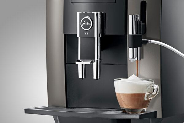 Jura E8 Home Bean to Cup Coffee Machine Dark Inox 1