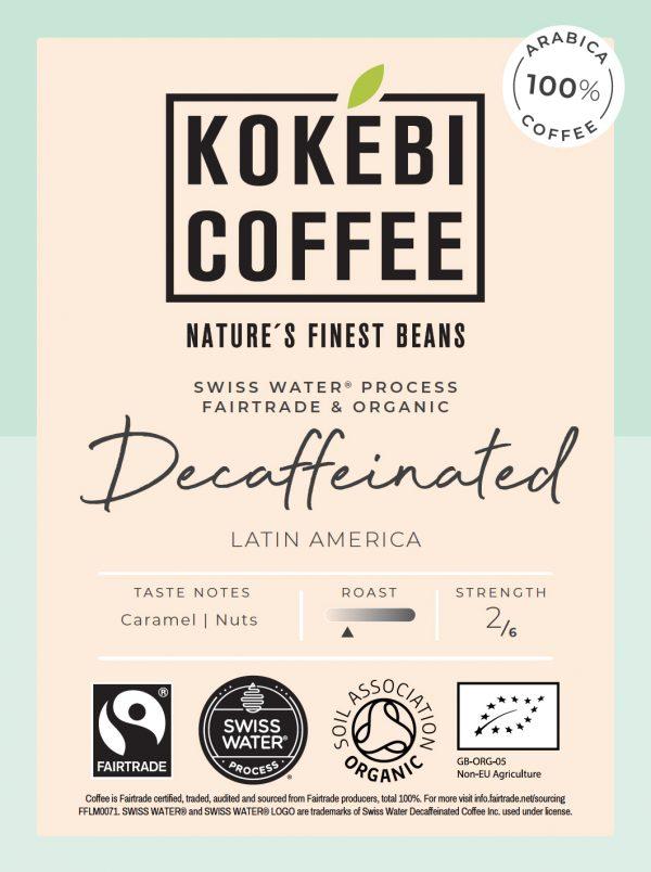 Kokebi Decaffeinated Fairtrade Organic Coffee Beans 250g